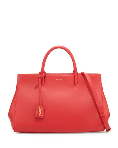 Monogram Large Calf Zip-Top Tote Bag, Red