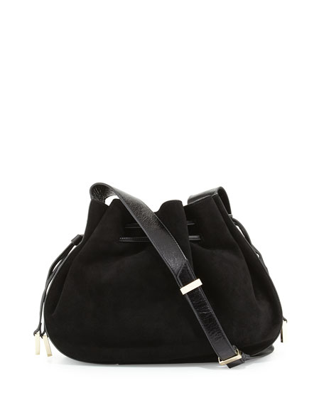f72a827662cb Halston Heritage Glazed Leather   Suede Bucket Bag