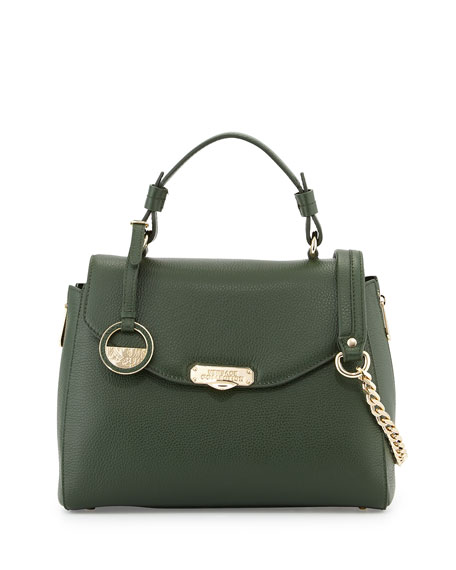 ... Flap-Top Leather Satchel Bag, Dark Green on sale ade7f 33b00  Versace  ... 730b9fa641