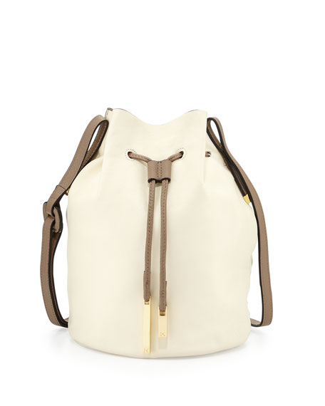 8101f9650699 Halston Heritage Drawstring Two-Tone Leather Bucket Bag