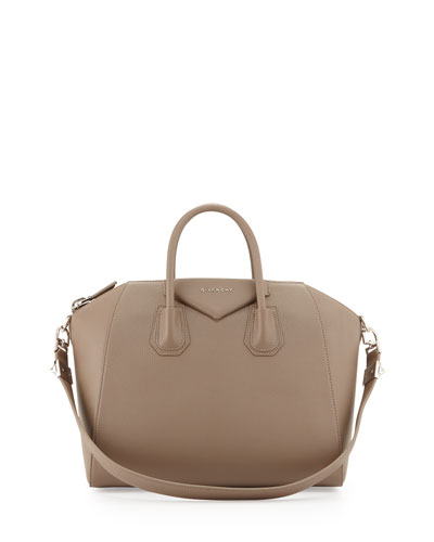 Antigona Medium Sugar Goatskin Satchel Bag, Sand