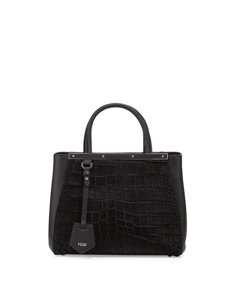 dcf0dcdb0a5c Fendi 2Jours Petite Croc-Embossed Calf Hair Satchel Bag