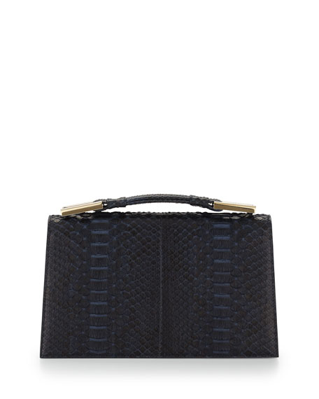 Charlotte Origami Python Leather Evening Clutch Bag