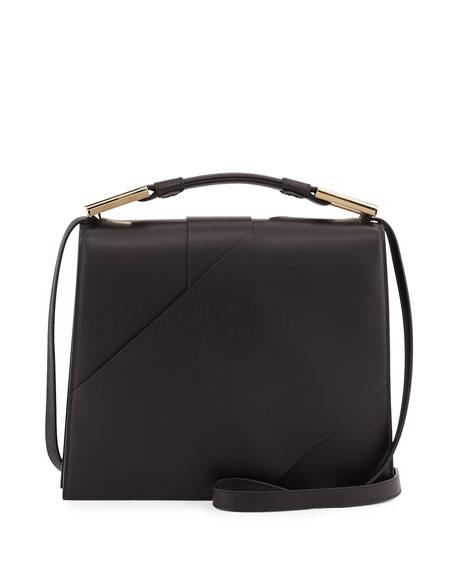Charlotte Origami Leather Handbag Black