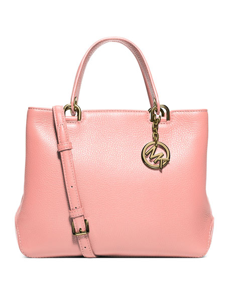 d0b4836eb3f294 MICHAEL Michael Kors Anabelle Medium Top-Zip Leather Tote Bag, Pale Pink