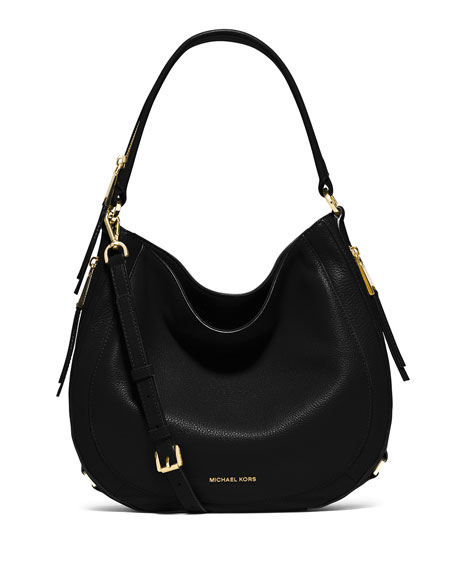 c6c8997a87fc9e MICHAEL Michael Kors Julia Medium Leather Convertible Shoulder Bag, Black