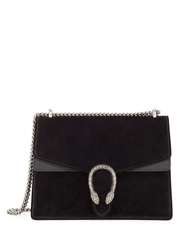 Dionysus Suede Shoulder Bag, Black