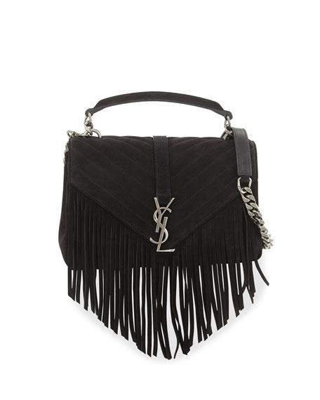 Monogram Fringe College Suede Shoulder Bag Black
