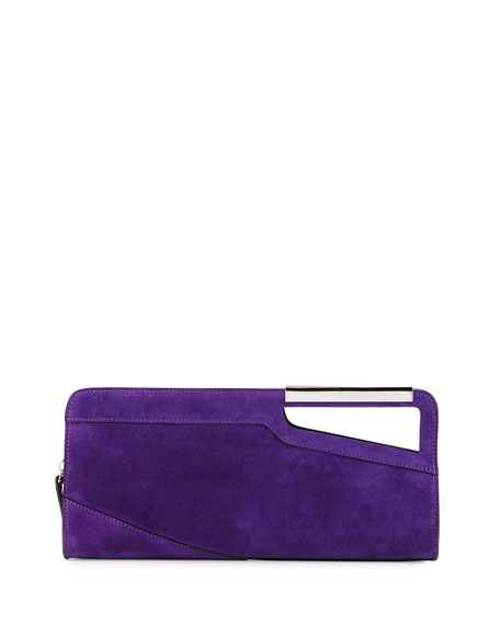 aliexpress highly coveted range of unique style East-West Suede Clutch Bag Purple