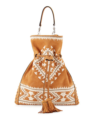 Moto Large Embroidered Crossbody Bag, Almond