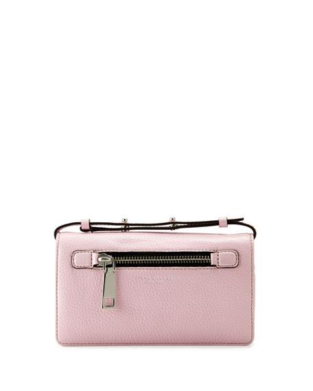 Gotham Leather Crossbody Wallet Pink Fleur