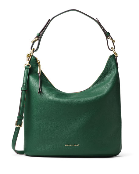 Lupita Large Leather Hobo Bag Moss