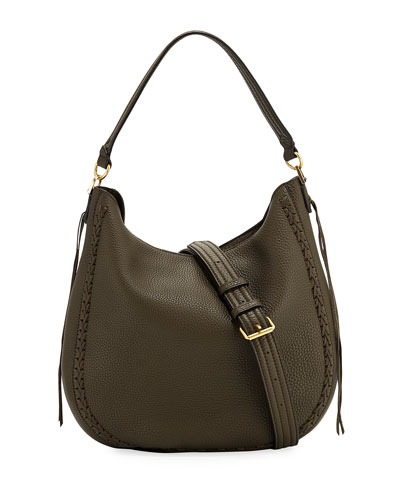 Convertible Pebbled Leather Hobo Bag
