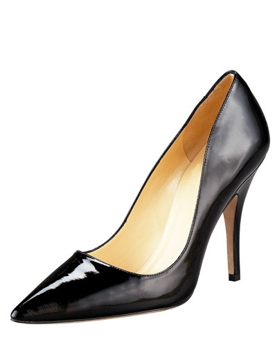 licorice pointed-toe pump