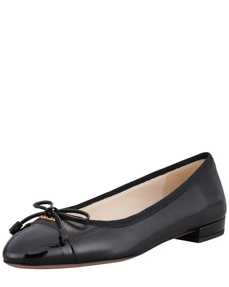clearance popular outlet big discount Prada Leather Cap-Toe Flats free shipping authentic sale original sxbZ0GbW9Y