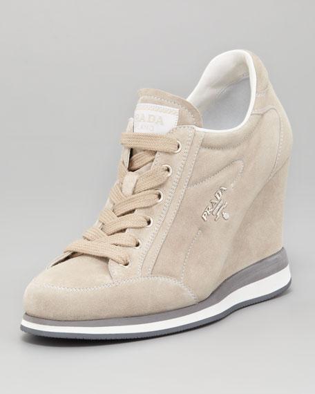 5938157d2161 Prada Suede Lace-Up Wedge Sneaker