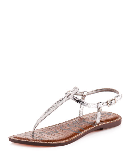 9d06fea2d6a96a Gigi Snake-Embossed Thong Sandal. Sold Out. Zoom Image