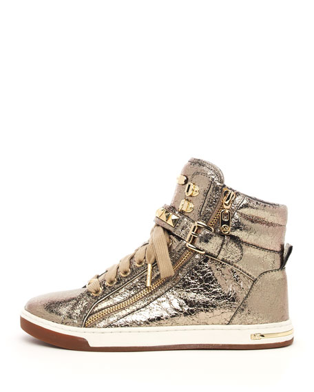 02ce88e04995a MICHAEL Michael Kors Metallic Glam Studded High-Top. Metallic Glam Studded  High-Top