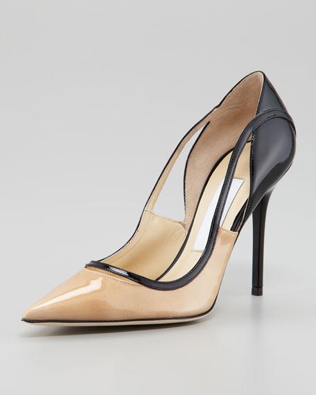 jimmy choo vero colorblock patent leather pump nude black rh neimanmarcus com