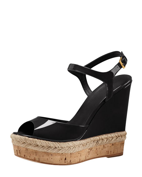 aa2adcd45 Gucci Patent Espadrille Wedge Sandal, Black
