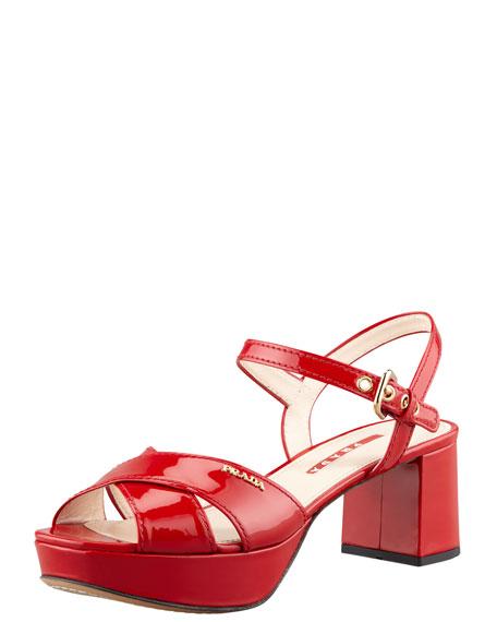 9ff7e9bf783 Prada Patent Crisscross Platform Sandal