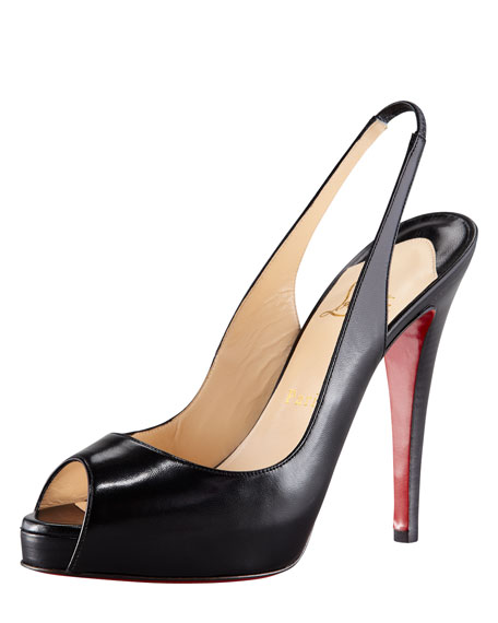 pretty nice 8a532 772af No Prive Leather Slingback Red Sole Pump Black