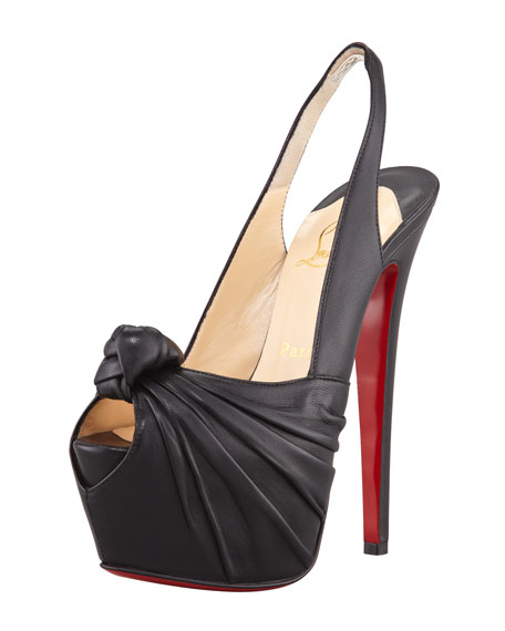 bafed1c0dce8 Christian Louboutin Miss Benin Leather Knotted Platform Red Sole Slingback