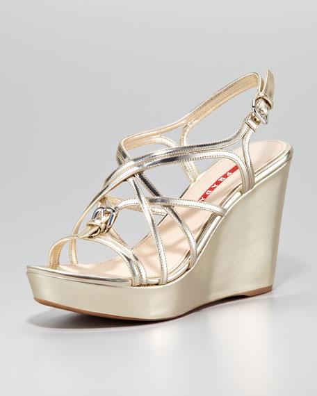 77a285179a38 Prada Metallic Strappy Wedge Sandal