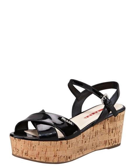 d623bcbbce9 Prada Patent Crisscross Wedge Sandal