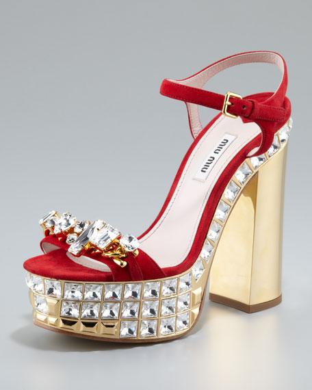 e7173351cc77 Miu Miu Jeweled Suede Platform Sandals. Jeweled Suede Platform Sandals