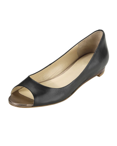 Astoria Peep-Toe Ballerina Flat, Black