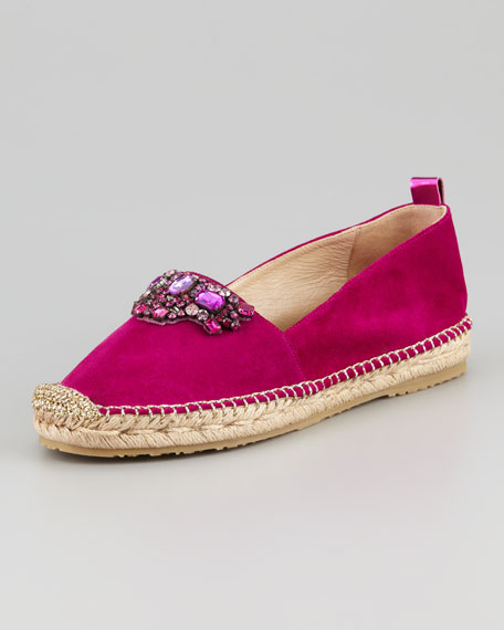 Galion Suede Espadrille Flat, Orchid