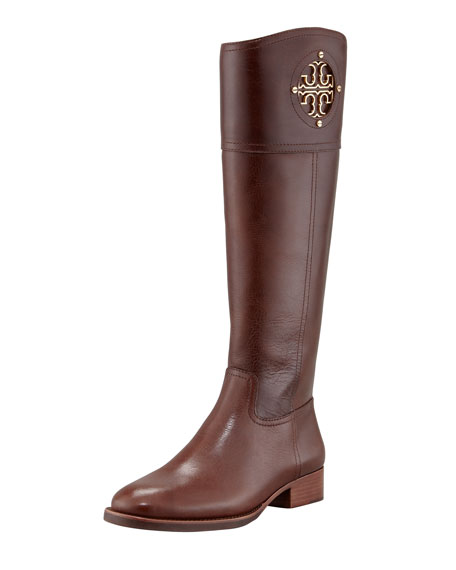 6c5069a5261 Tory Burch Kiernan Leather Logo Riding Boot