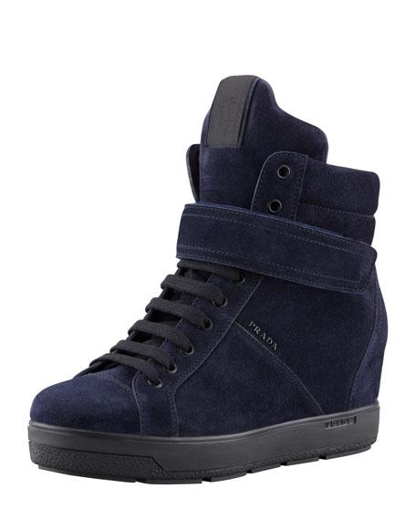 d242b5c59423 Prada Suede Wedge Sneaker