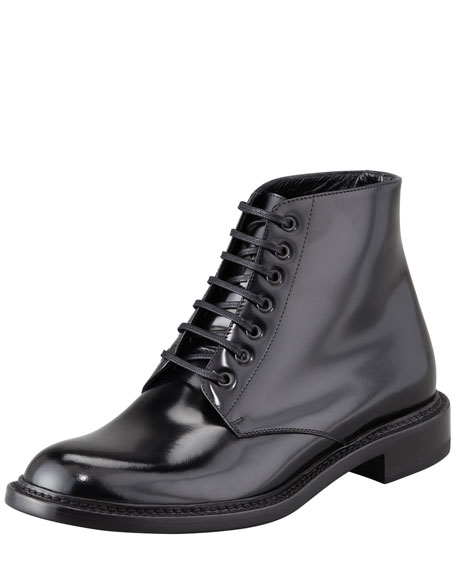 394c5ae7e97 Saint Laurent Master Lace-Up Combat Boot, Black