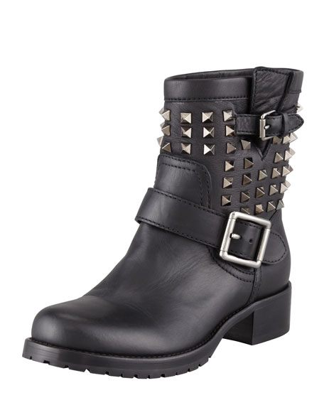 Womens Boots New Styles 76736295 Valentino Noir Rockstud Leather Biker