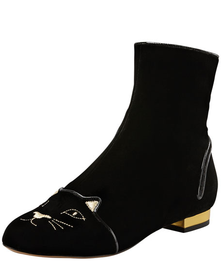 d3f8a24b8 Charlotte Olympia Puss in Boots Embroidered Velvet Ankle Boot