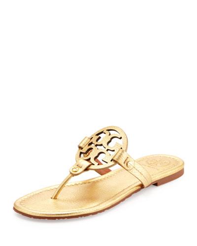 Tory Burch Miller Metallic Logo Thong Sandal, Gold