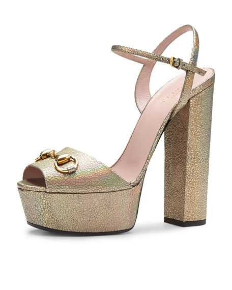 2a3a8ced6f5 Gucci Claudie Iridescent Platform Sandal