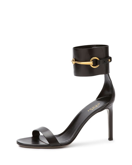 885945f0378eda Gucci Ursula Leather Ankle-Wrap Cage Sandal