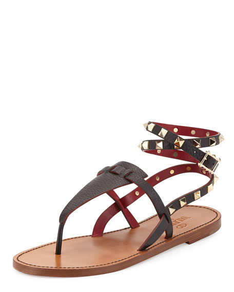 Valentino Rockstud Leather Thong Sandals K7W6LuXK