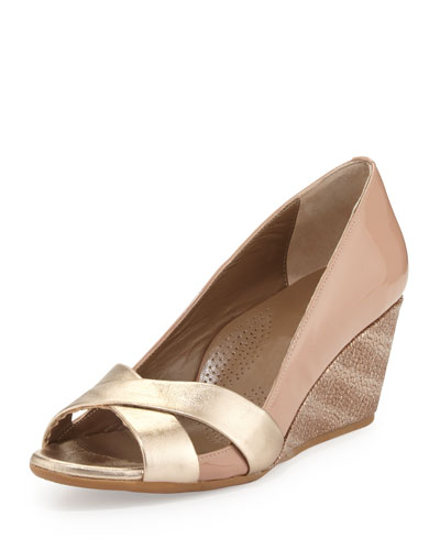 Daphne Combo Wedge Pump, Platinum