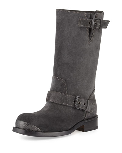 Suede Mid-Calf Buckle Boot, Gray