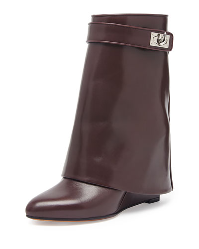 Leather Shark-Lock Ankle Bootie, Burgundy