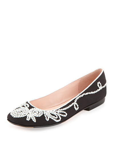 Bubka Embroidered Ballerina Flat, Black