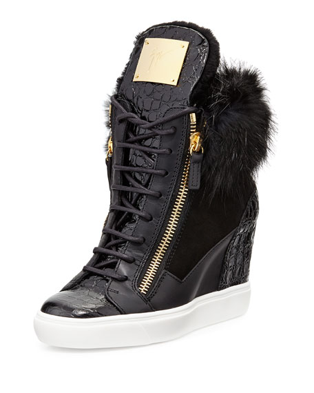 Giuseppe Zanotti Fur-Trimmed Wedge Sneakers free shipping limited edition clearance tumblr nDIRbb