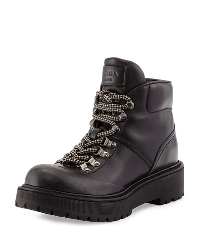 Leather Hiking Boot, Nero