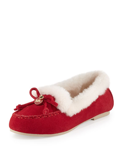 Cori Fur-Lined Suede Moccasin, Red
