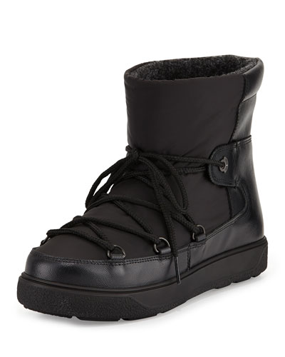Fanny Lace-Up Ankle Boot with Fur Lining, Black
