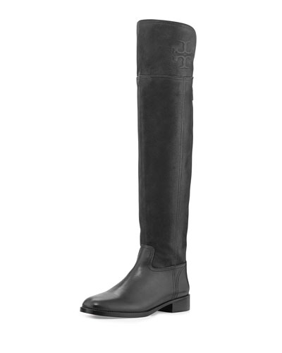 Simone Suede Over-the-Knee Boot, Black